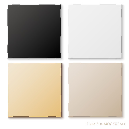 blank set of pizza box template mock up with shadows