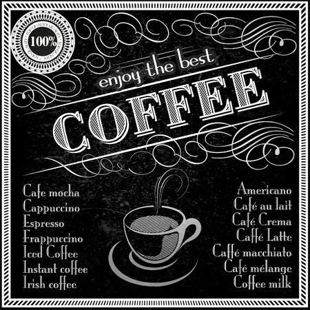 enjoy the best coffee  typography deisgn menu template black chalkboard Illusztráció