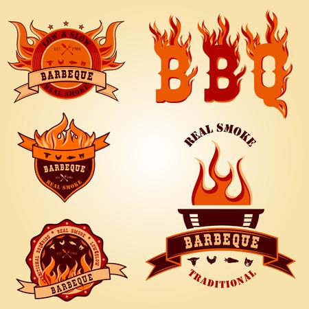 Illustration set of BBQ barbecue logo labels Badge designs