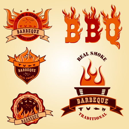 Illustration set of BBQ barbecue logo labels Badge designs