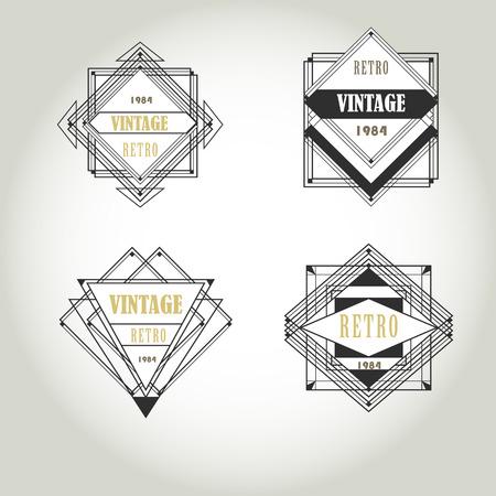 art deco geometric vintage label lineart logo