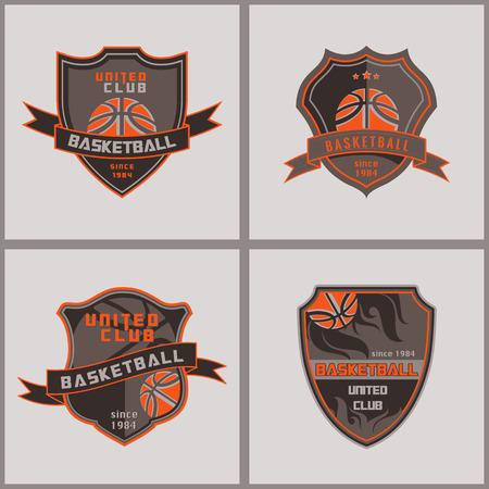 Conjunto De Insignia Baloncesto Logotipo de diseño Templatesretrp