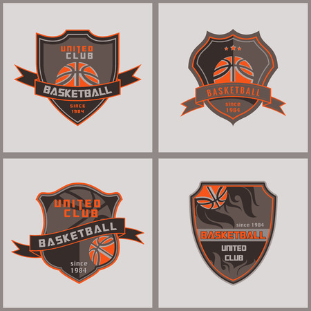 championship: Set Of Basketball  Badge Logo Templatesretrp design