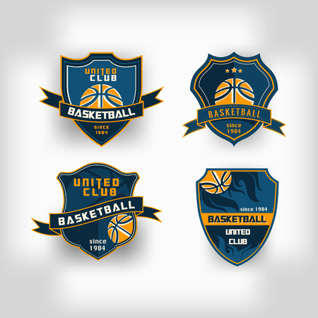 team sport: Set of basketball college team emblem crest  backgrounds Illustration