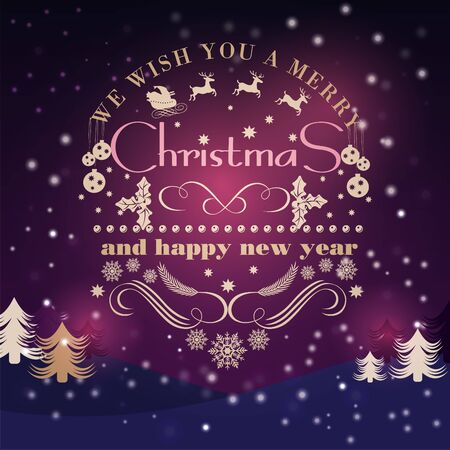 blizzards: Christmas vintage greeting card with holidays lettering typography  on a night winter background  with snow Illustration