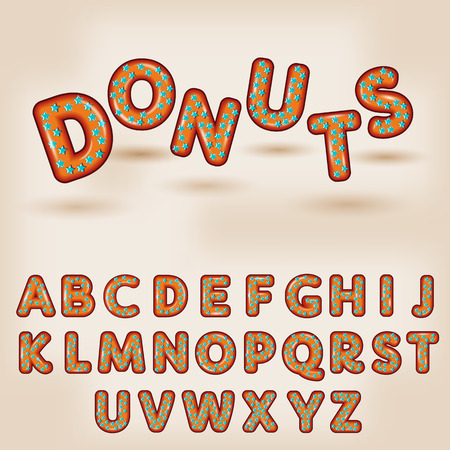 donut style: Comic cartoon sweet donut  style  with star candy  alphabet  3d letters font Illustration