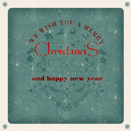 old style lettering: Christmas vintage greeting card with holidays lettering typography  old style poster Illustration