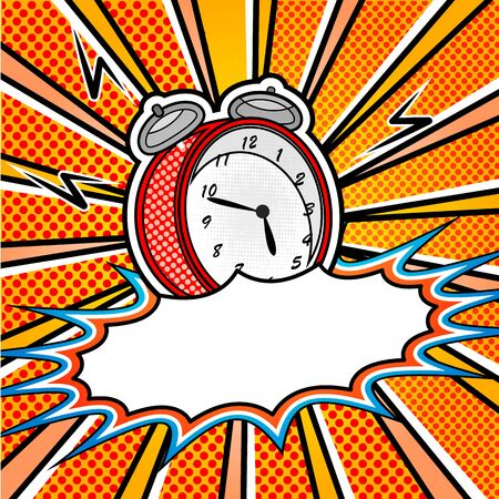 fission: bright pop art explosion over dotted background with cartoon clocks