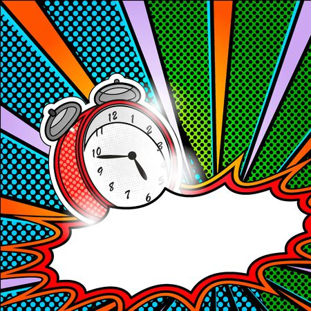 nuclear fission: bright pop art explosion over dotted background with cartoon clocks