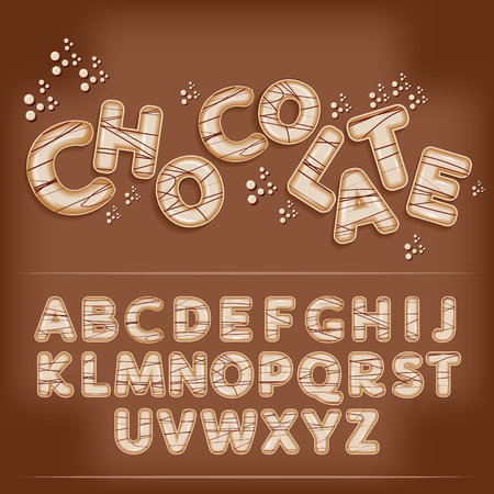 white milky chocolate funny candy cartoon alphabet font