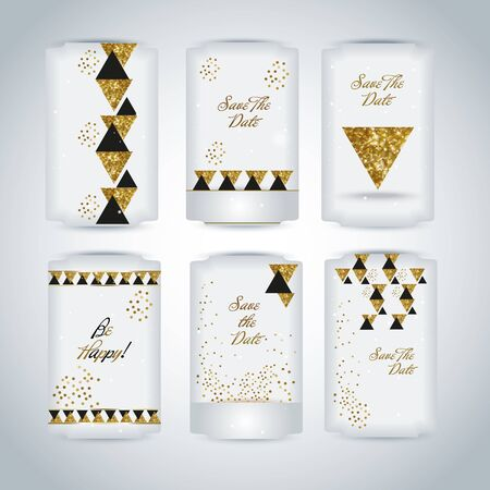 artdeco: Set of black gold glitter texture gift invitation artdeco tags Illustration