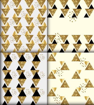 artdeco: Set of 4 black gold glitter artdeco style seamless patterns Illustration