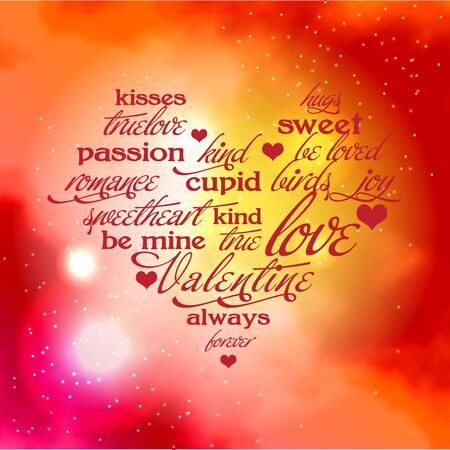 Valentine day typography design words in heart shape Love kisses