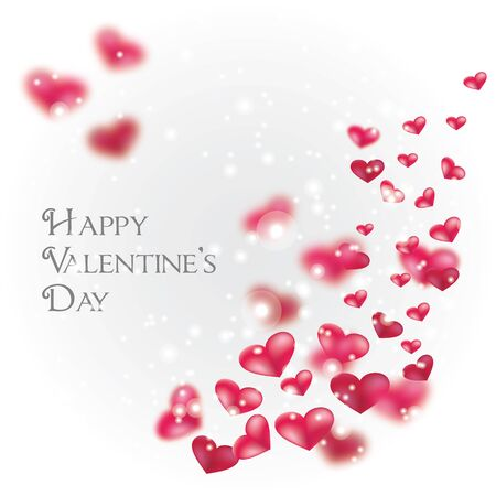 Flying red hearts Happy Valentine Day card