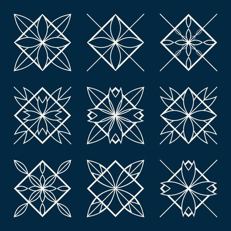 lineart: Lineart ornamental geometric traditional symbols  templates set
