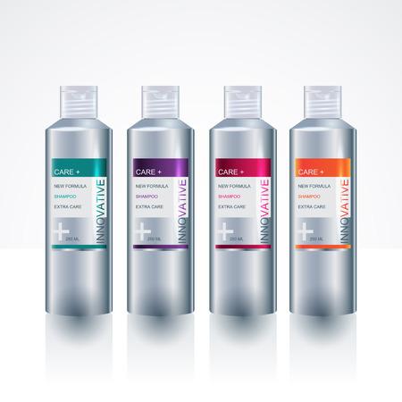 medical shower: Beauty packaging design templates body care shampoo shower gel bottles