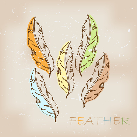 allegory painting: Vintage hand drawn native tribal feather Illustration