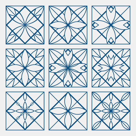 lineart: Lineart ornamental geometric symbols templates set