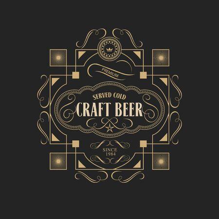 Marco de la antigüedad artesanía frontera de la vendimia de la cerveza etiqueta de ilustración retro vector