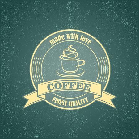 Coffee logo emblem retro design template on vintage grunge backrground Çizim