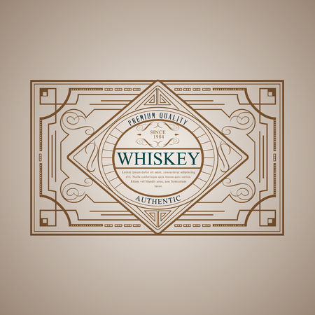 Vintage frame design for whiskey labels,  menu, sticker calligraphic style