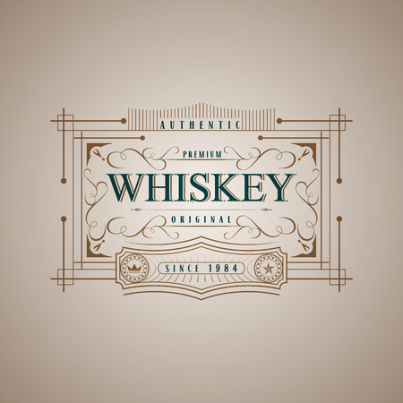 Vintage frame design for whiskey labels,  menu, sticker calligraphic style