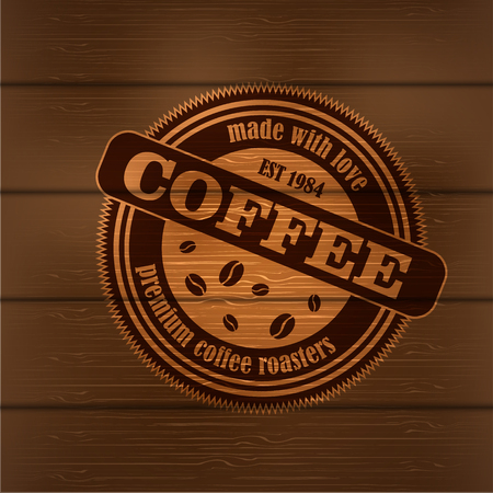 Coffee logo emblem retro design template on wood backrground