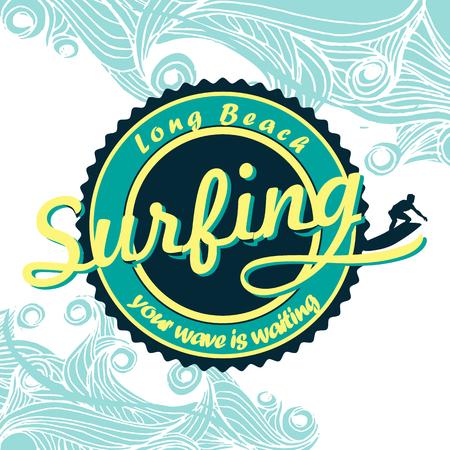 malibu: summer surfing retro vintage emblem, t-shirt, poster design Illustration