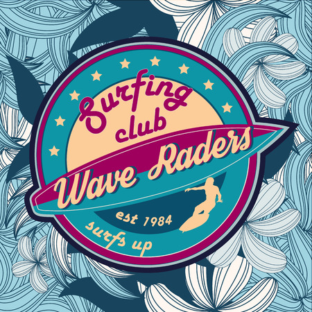 summer surfing retro vintage emblem, t-shirt, poster design Çizim