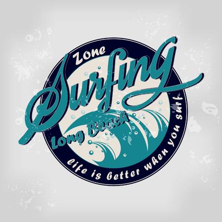 malibu: summer surfing retro vintage logo emblem, t-shirt, poster design