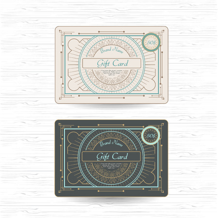 set of vintage ornament greeting or gift card template design with flourishes frame and border