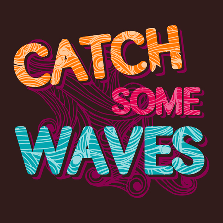 malibu: summer surfing retro vintage typographic Catch the waves  tempalte for poster or t-shirt design