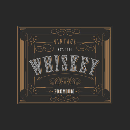 Vintage ornament western design template for whiskey label with flourishes frame and calligraphic border Illustration