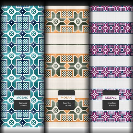 set of seamless texture with vintage geometric mosaic ornament