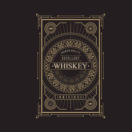ephemera: antique frame vintage border whiskey label retro  vector illustration