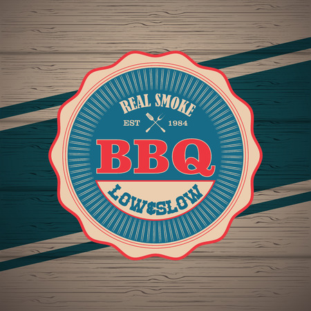menu restaurant: Barbecue BBQ grill logo stamp  retro poster food menu design flyer