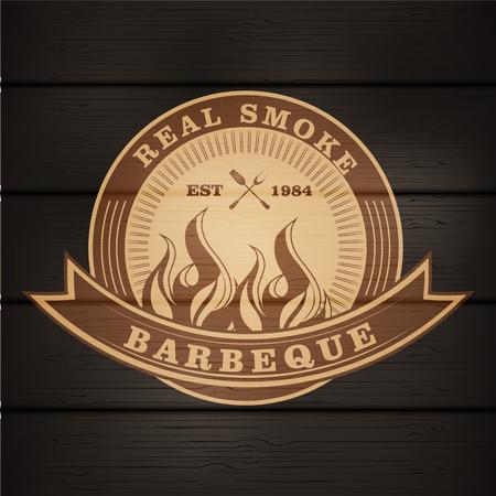 バーベキュー バーベキュー グリルのロゴのスタンプ レトロ ポスター食品メニュー デザイン チラシ