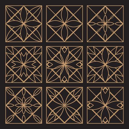 lineart: Lineart ornamental geometric traditional symbols  templates set