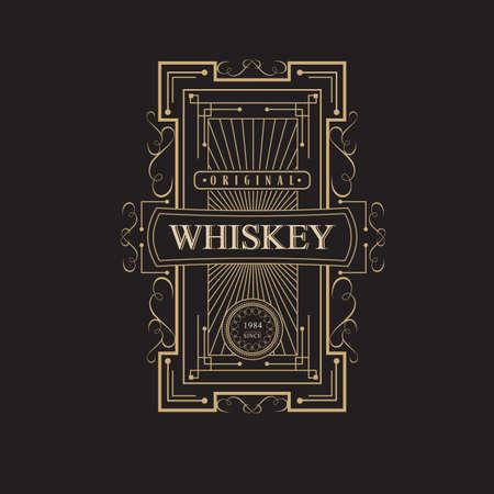 old letter: antique frame vintage border whiskey label retro  vector illustration