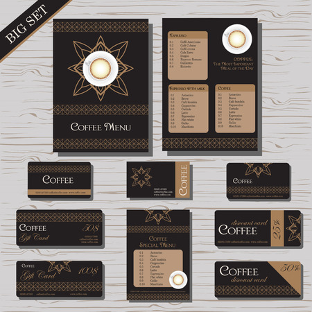clothing label: Restaurant cafe menu template set, gift certificate, business card, discount card