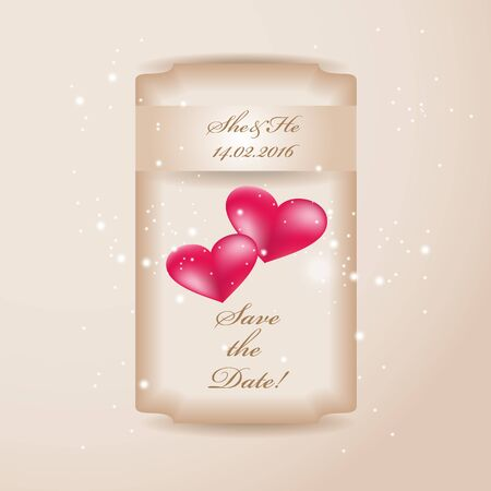 ard: wedding invitation or greeting valentine day ard with heart decoration Stock Photo