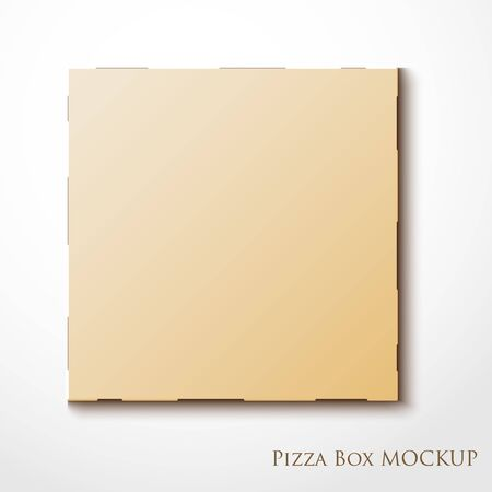 stored: Cardboard empty pizza box mock up template package