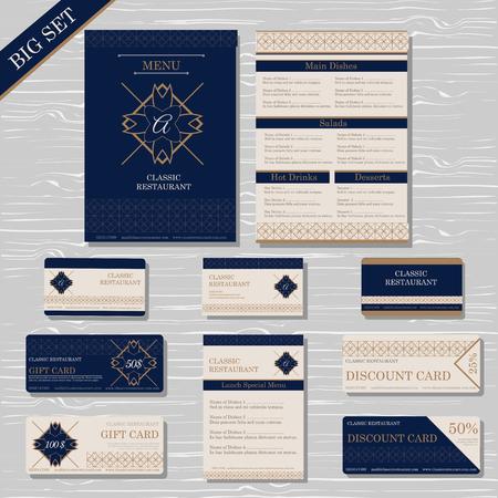 restaurant cafe menu template set gift certificate business