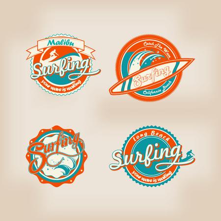 malibu: set retro vintage summer surfing    for t-shirt or poster design Illustration