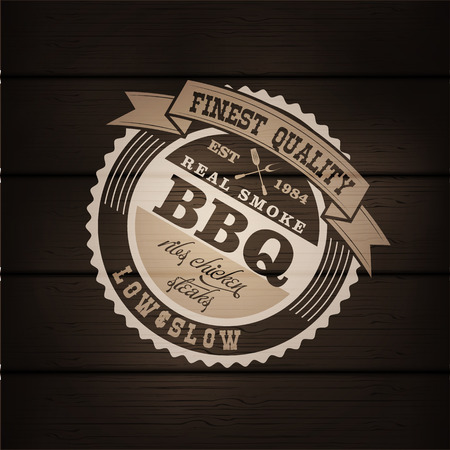 Barbecue BBQ grill logo stamp  retro poster food menu design flyer