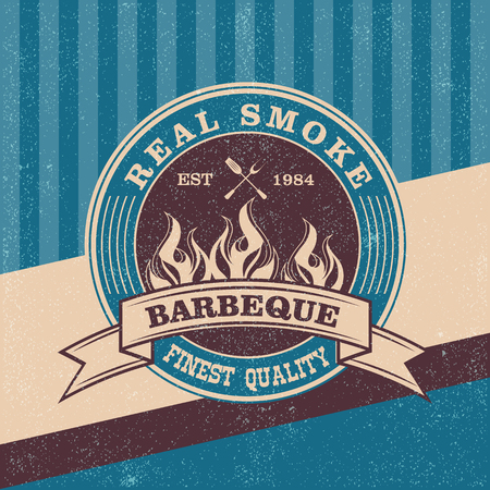 Barbecue BBQ grill logo stamp  retro poster food menu design flyer