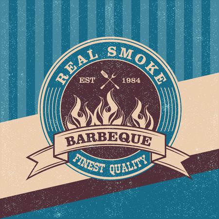 barbecue grill: Barbecue BBQ grill logo stamp  retro poster food menu design flyer