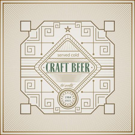 brewery: Good craft beer brewery vintage art deco frame label