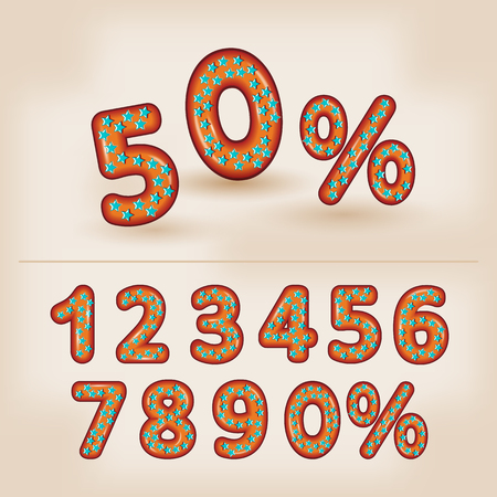 donut style: Comic cartoon 3d  sweet donut style with star candy numbers 50% sale