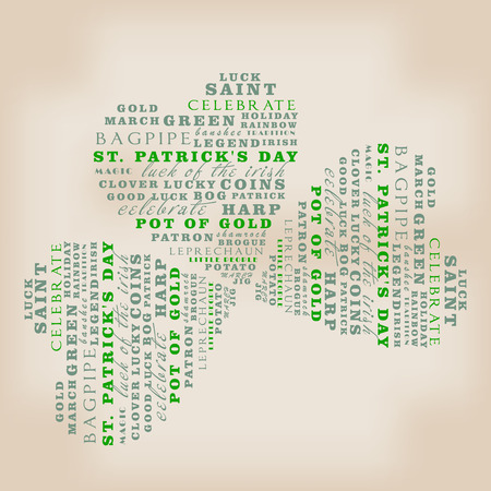 leafed: Saint Patricks Day Typographical Background in clover shape